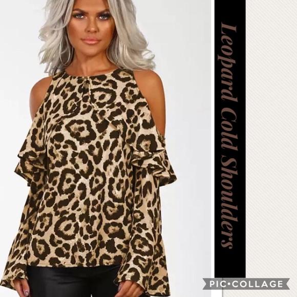 af4441217e88f0 Blu Trends Tops | Sale Leopard Print Cold Shoulders Top | Poshmark